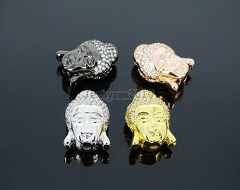 Clear Zircon Gemstones Pave Buddha Head Bracelet Connector Charm Beads Silver Gold Rose Gold Gunmetal