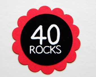 40th Birthday Favor Tags, 40 Rocks, Set of 12, Red and Black