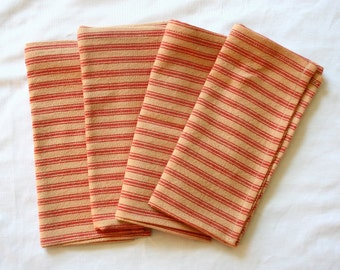 Rustic Red Stripe Cloth Napkin Set (set of 4)--Christmas Gifts--Teacher Gifts--Reusable--Eco-friendly--Washable--Tablescape
