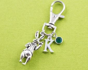 White rabbit purse charm, zipper charm, bag charm, swarovski birthstone. personalized gift, alice white rabbit, literary gift, librarian