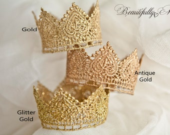 """Quick Ship--Ships within 24-48 hours-Princess or Prince Newborn """"Jocelyn"""" Crown Prop Baby 1st Photos Gold sparkle- Any Size"""