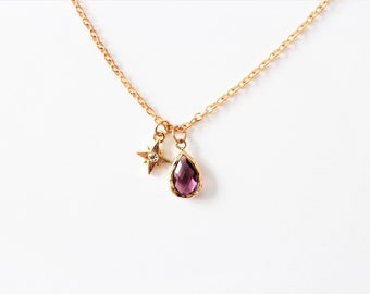 Jewelry chain drop pendant rose gold, Crystal, gift for women, gold chain, minimalist jewelry, sale