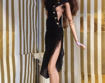 Sergei's black party dress. (Dress only no included accessories) for Barbie, FR or Poppy Parker.