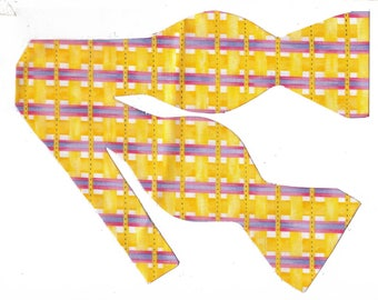 Sunshine Weave Self-tie Bow Tie | Yellow plaid ties | Purple & Pink | Wedding bow ties | bow ties for men | Plaid bow ties | Bright Yellow