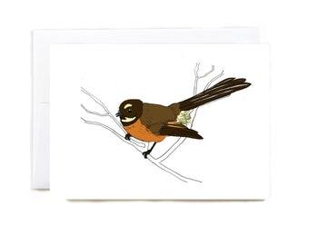 New Zealand Fantail, Piwakawaka, illustrated greeting card