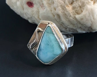 Larimar Ring Artisan Handcrafted Egret Bird Theme Wide Band Size 7 3/4 Statement Ring, Sterling Silver Tropical Bird and Light Blue Stone