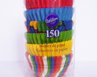 Wilton 150 Mini Baking Cups- Candy Liners Assortment Primary Multi