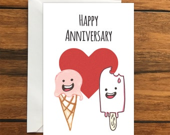 Happy Anniversary One Blank Greeting card and Envelope A6
