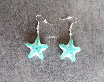 Star earrings of sea green and white seed beads Miyuki