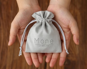 50 jewelry bags custom drawstring bags jewellery packaging chic drawstring pouch personalized with your logo premium  Cotton Flannel grey