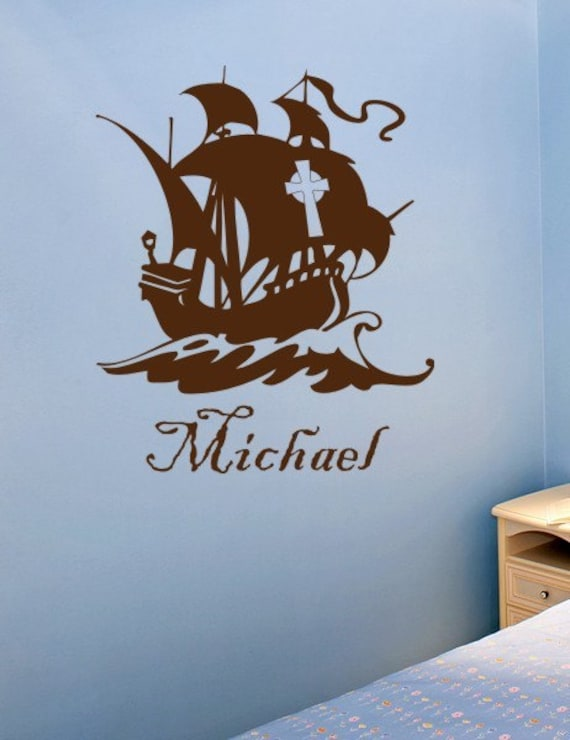 Pirate Ship Wall Decal Personalized Kids Vinyl Wall Art