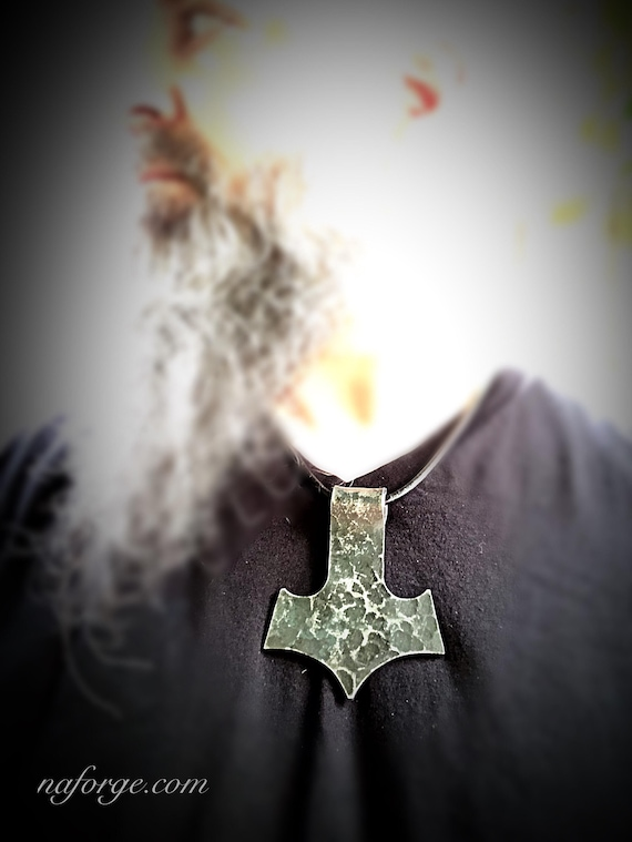 BLACKSMITH HAMMER TEXTURED Large Iron Pendant with Leather Cord Necklace by Naz - Old Style - Old World - Handmade - Viking Style Jewelry