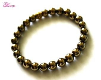 8mm Pyrite Bracelet, Pyrite Hematite Bracelet, Pyrite Hematite Wrist Beads, Pyrite Hematite Jewelry, Pyrite Wrist Mala, Gold Bead Bracelet