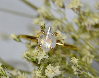 Moonstone Ring - Sterling Silver & 14k Gold Fill - Pear Rainbow Moonstone
