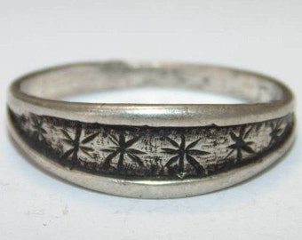 NR Sale SR506 Vintage Estate Sterling Silver Band Stars Front Ring 2gr 925 US Size 6.5 Jewelry Jewellery UK N Gift For Her