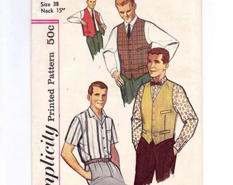 Mens Vest Pattern, Reversible Vest, Mens Shirt Pattern, Size 38, Neck 15 Inches, Mens Sewing Pattern