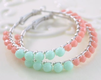 Mint Green and Coral Hoops, Silver Plated Earrings, Czech Glass Beads, Wire Wrapped, Fresh Summer Jewelry