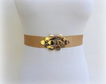Gold elastic waist belt. Gold leaf belt. Wide belt. Stretch belt. Bridal belt. Dress belt. Wedding belt.