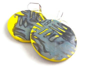 Colorful dangle earrings polymer clay gray and yellow large round
