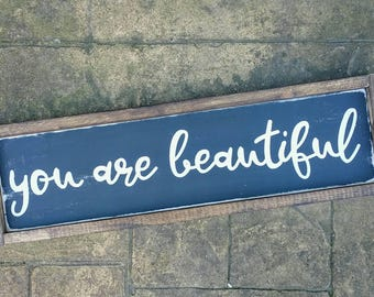 you are beautiful   rustic sign   wall gallery   home decor