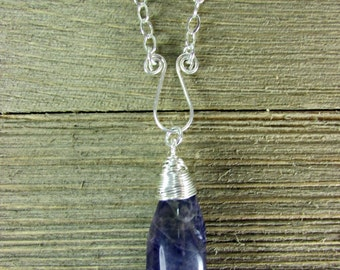 Amethyst & Sterling Silver Necklace, Amethyst Pendant, Amethyst Crystal Point