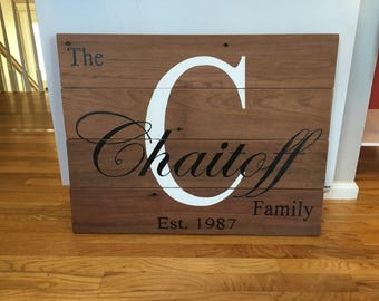 personalized wood family name sign, reclaimed mahogany, Family established sign, wood sign, wall decor, rustic, farmhouse