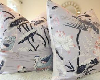 Schumacher Lotus Garden Lilac Pillow Cover, Schumacher Pillow, Schumacher fabric, asian, chinoiserie, japanese print