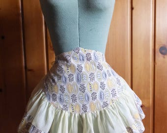 Vintage Yellow Sheer Organza Gray Floral Leaf Full Gathered Skirt Apron