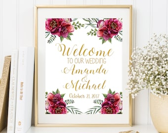 Welcome To Our Wedding Sign Personalized Welcome Wedding Sign Custom Welcome Sign Printable Welcome Sign Floral Wedding Sign Printable