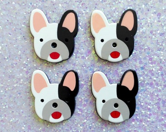 5 pcs - Cute Black and White Pug Dogs Planar Resin Flatback Cabochon - 38mm - Canine - Decoden - DIY - Scrapbooking - Pet
