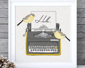 Mustard Yellow Decor, Mustard Yellow Art, Mustard Wall Art, Typewriter Print Typewriter Wall Art Ochre Wall Art Ochre Picture Retro Wall Art