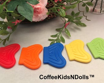 Fish Tail or Wavy Silicone Teether  // 2x1.5 inch // Sew In Teether // Teething Toy // Toy Making // Baby Teething // Handmade