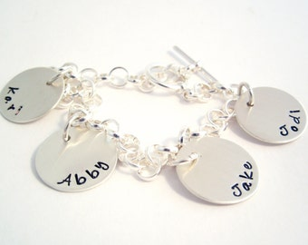 Personalized Charm Bracelet  - Mother's Day gift -  Mother's Charm Bracelet - Grandma Bracelet -  Silver Charm Bracelet - Mother's Day gift