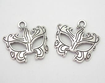 2 charms mask silver 23x22mm