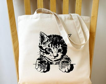 Kitty Cat Canvas Tote Bag Book Bag