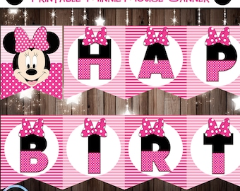 Minnie Mouse Banner, Minnie Mouse Birthday Banner, Minnie Mouse Party, Mickey Mouse Party, Pink Minnie Mouse Banner, Minnie Mouse Printables