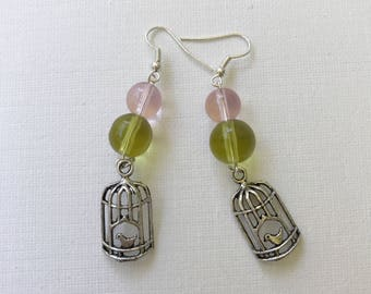 Birdcage Earrings w/ Pink and Beads