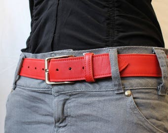 Red belt; women belt. women leather belt. belt red leather ET.31