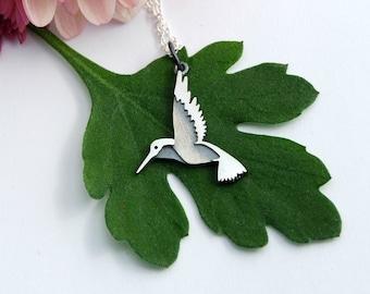 Hummingbird bird necklace sterling silver pendant woodland