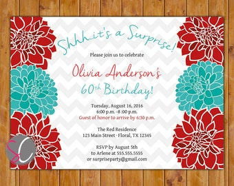 Red Teal Surprise Birthday Party Invite Floral Burst Invitation Any Age 50th 60th Adult Printable 5x7 Digital JPG File  (572)