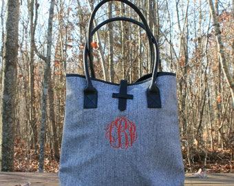 Personlized Herringbone Tote Bag Monogrammed Women's Tote