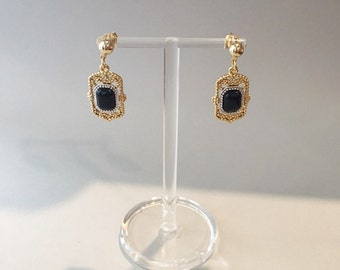 Antique Gemstone Earrings [Lapislazuli, Onyx, Rose Stone]