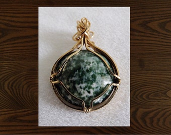 Wirewrapped Tree Agate Pendant