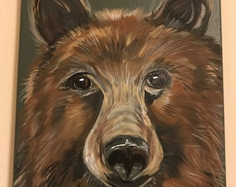 50% to Charity Original acrylic Art BROWN bear