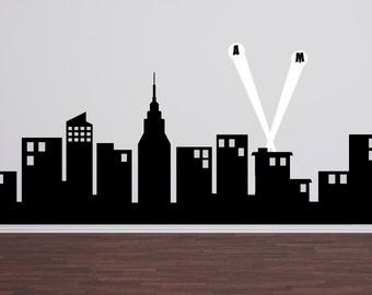 "Super Hero City Skyline, Childrens Wall Decals, Boy Bedroom Decor, Superhero Wall Decals, 60"" wide"