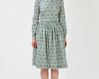 Long sleeve bridesmaid dress Long sleeve floral dress Wedding guest dress 1950s dress Fit and flare Dress with pockets Belted dress