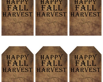 grungy tag set, primitive tags, craft supplies, scrapbooking  - happy fall harvest - digital PDF & jpeg - HFHGT01
