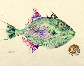 Trigger fish with shell best GYOTAKU Art Print fish rubbing wall art Salt Water Game Fisherman gift by Barry Singer