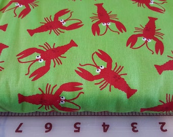 Red Lobsters on Lime Fabric Finders 1390