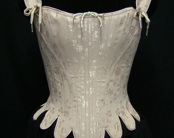 18th Century Marie Antoinette Corset Stays in brocade, cotton, satin coutils Historic Steel Boned Rococo Cosplay Venetian Masquerade Costume